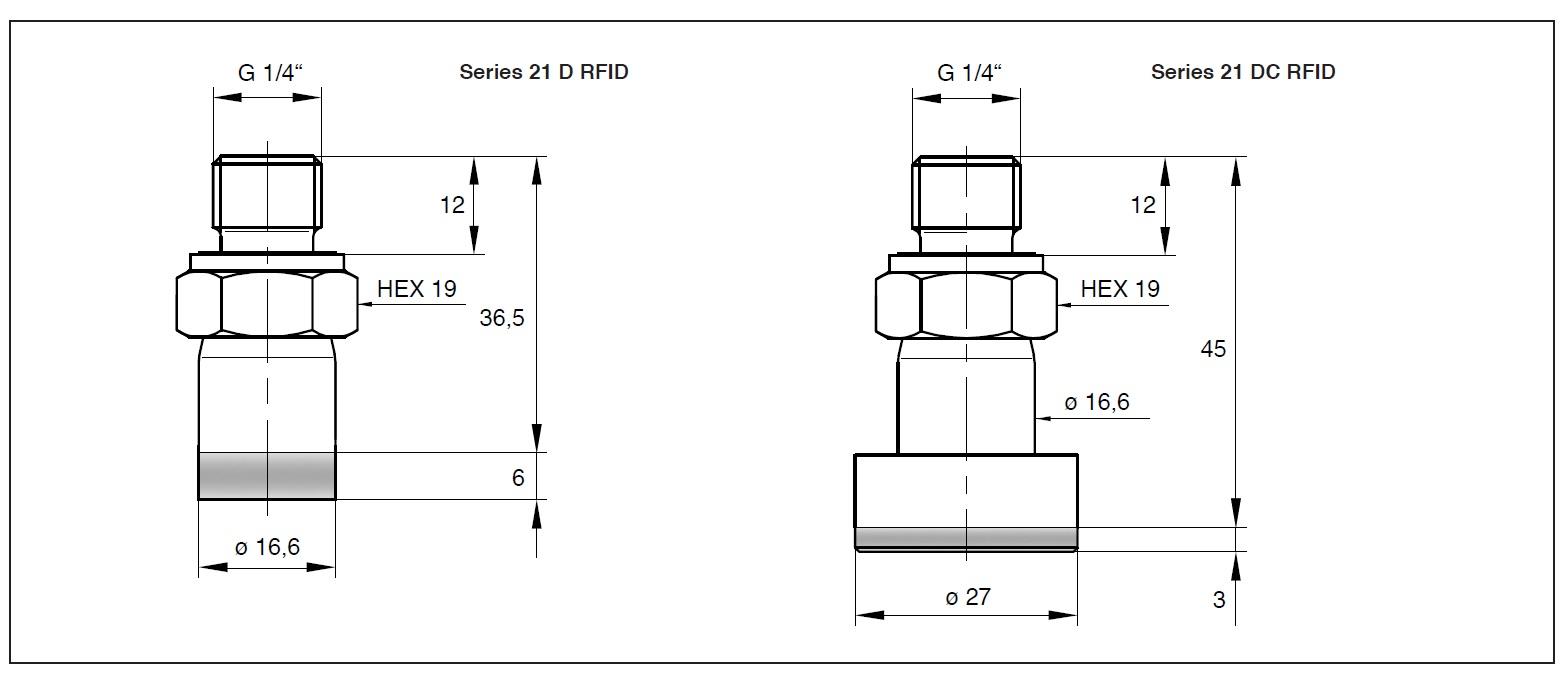 ケラー社 (Keller)絶対圧計<br />圧力センサ シリーズ 21D RFID (PAA)<br />無線通信の圧力センサ